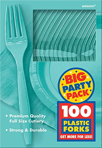 Big Party Pack Plastic Forks| Robin's Egg Blue | Pack of 100 | Party Supply