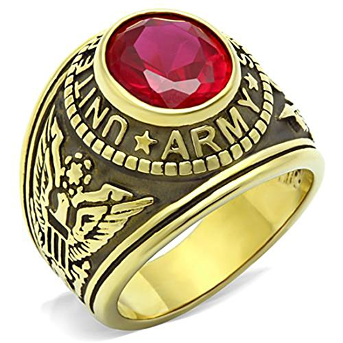 Stainless Steel US Army Military Ring Gold Plated with Red Stone, Size 12