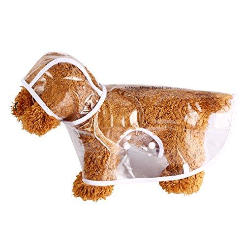 GLOGLOW Impermeable para Mascotas, 5 Tamaños Impermeable Chaqueta Transparente Gato Perro Capucha de plástico Poncho Ropa...
