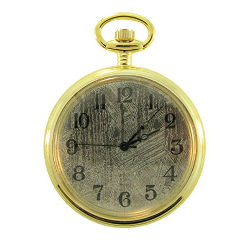Starborn Creations Genuine Muonionalusta Meteorite 45mm Quartz Movement Gold Plate Pocket Watch