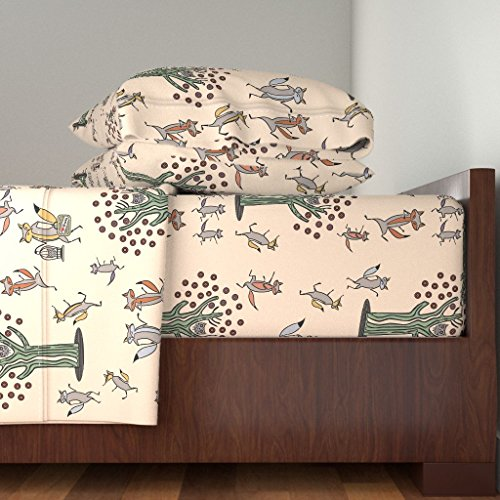 Roostery Cute 4pc Sheet Set Fox Dance by Chickoteria King Sheet Set made with by Roostery