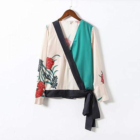 Cnsdy Camisas de Las Mujeres Cruces envueltas Corbatas Estampadas ...