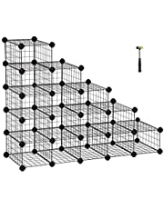 SONGMICS Zapatero Modular con 15 16 Cubos, Rejilla de Alambre de Metal, Estantería de Almacenamiento de Bricolaje, Organizador de Zapatos de Enclavamiento para el Dormitorio vestíbulo Negro LPI44HS