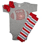 Baby girl's Grey & Red School Team Color Rhinestone Red Football, Outfit 0-3mo