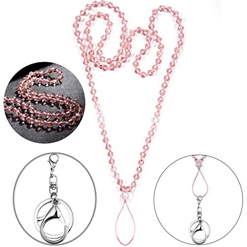 (Necklace Women Lanyard for id Badge Holder Keys Cell-Phone Strong Neck Lanyards Fashion Beautiful Bead Chain Necklaces Cellphone-Pink)