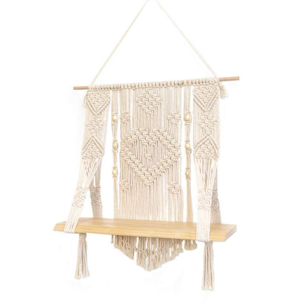 DDSS Home Decoration Wall Decoration - Nordic Style Hand-Woven Tassel Tapestry, Bedroom Wall partition Shelf 21'' L x 19'' W /-/