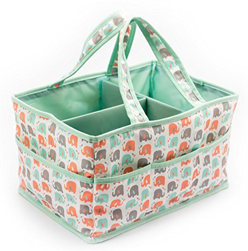 Baby Diaper Caddy Organizer by Sweetzer and Orange - 100% Foldable ElephFUN! Baby Shower Registry Must Haves - Extra Large...