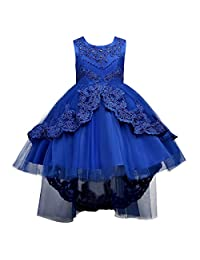 Girl High-Low Lace Rhinestone Bridesmaid Dress Tulle Flower Pageant Wedding Gown