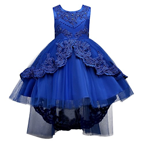 IBTOM CASTLE Little/Big Girls Lace Beaded Rhinestone Bridesmaid Wedding Flower Tulle Dresses Party High Low Dance Tutus Evening Prom Gown Royal Blue 8-9 Years