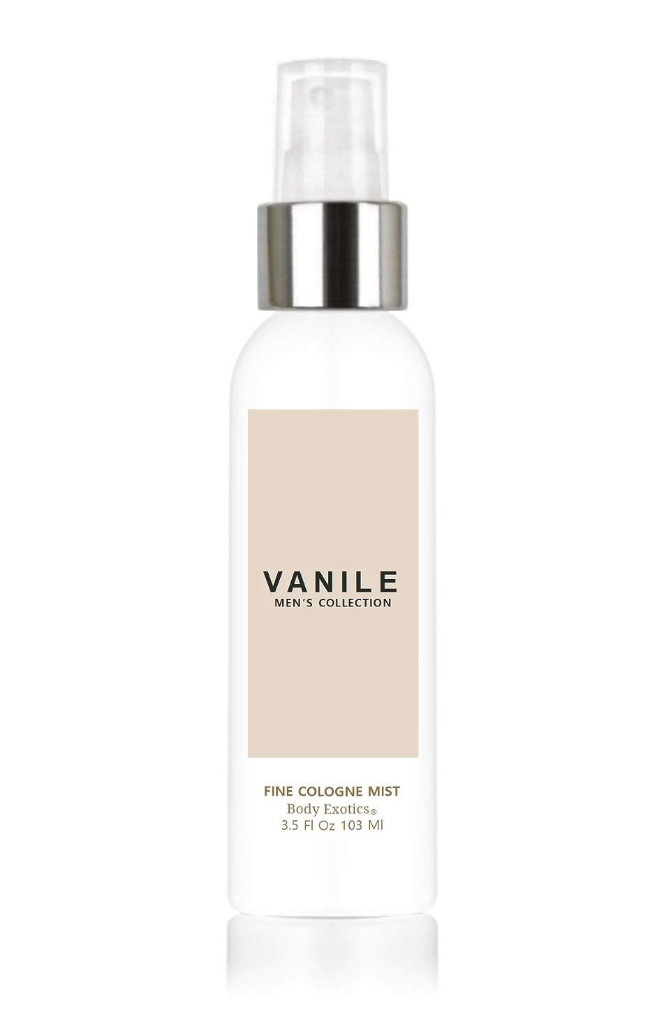 Vanile Men's Collection Fragrance Cologne Mist by Body Exotics 3.5 Fl Oz 103 Ml - a Hypnotic Blend of Dark Vanilla Bean, Black Amber, Sandalwood and Exotic Spices