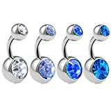 4pcs 14g 1/4 Short Belly Button Rings Navel Jewelry Surgical Steel Crystals Bars Non Dangle Banana Piercing Studs ACPB