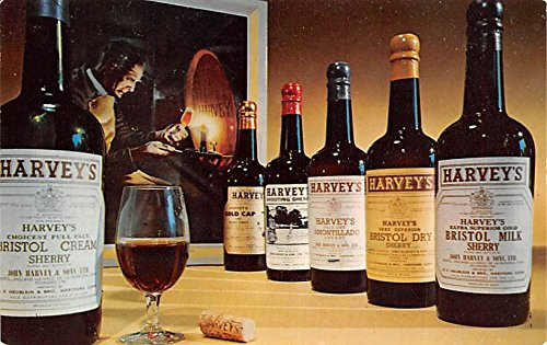 Wine and Liquor Advertising Old Vintage Antique Post Card Harvey's Sherry and Port Unused