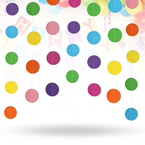 Erlvery DaMain 4 Pack 52.4 Feet Colorful Circle Dots Paper Garland Backdrop Hanging Decoration Strings for Party Wedding Birthday Baby - Garland Round