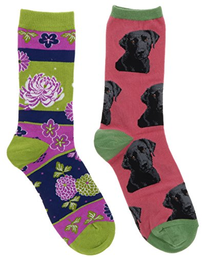 Socksmith Women's Black Lab Retriever Dog, Flowers Crew Socks (2Pr) (Pink, ()