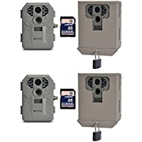 Stealth Cam P12 6 MP Hunting Trail Camera, 2 Pack + Security Boxes & SD Cards