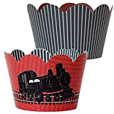 Train Party Supplies, Railroad Theme Birthday Cupcake Wrappers, Confetti Couture Party Supplies, 36 Paper Wraps