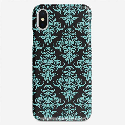 (ZHIQCH iPhone X case Damask Vintage Chandelier Wallpaper Floral Pattern Slim Fit Hard Plastic Cover Cases Full Protective Anti-Scratch Resistant Compatible with iPhone X)