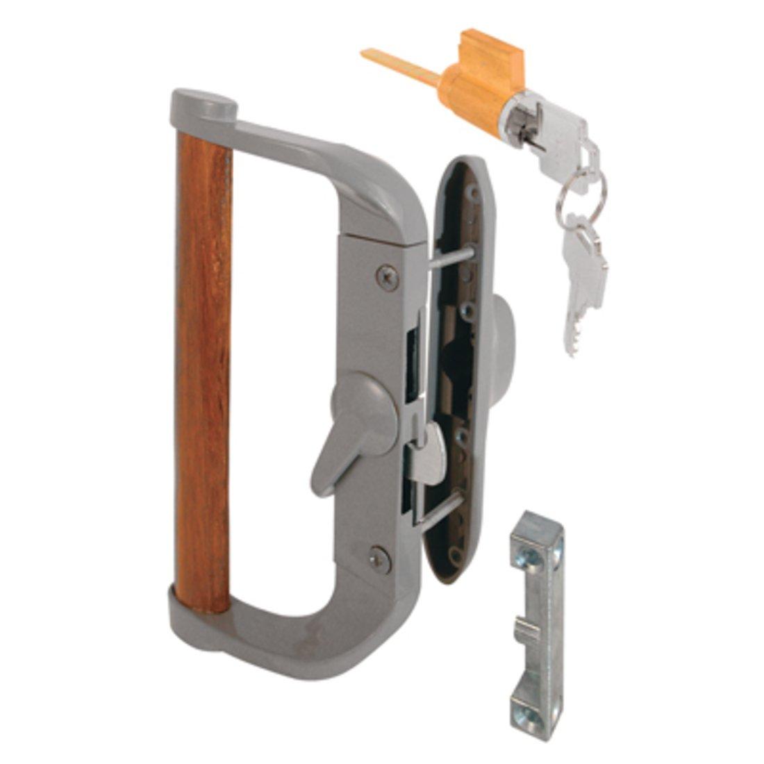 Aluminum/Wood Hook-Style Surface Mount Sliding Glass Door Handle 3-1/2'' Screw Holes - Keyed