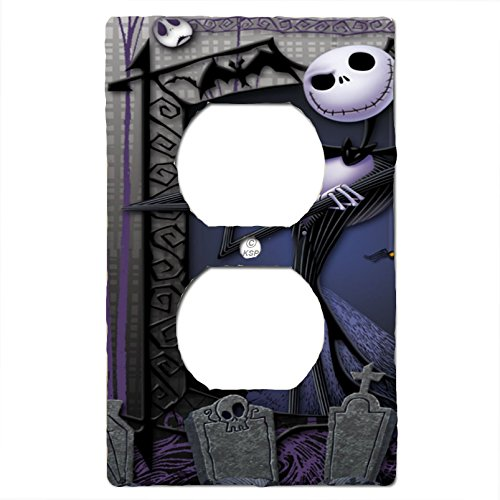 Nightmare Before Christmas Light Switch Cover Matching Jack Skellington Lock Shock and Barrel (Toggle Light Switch Plate) (1x Outlet)