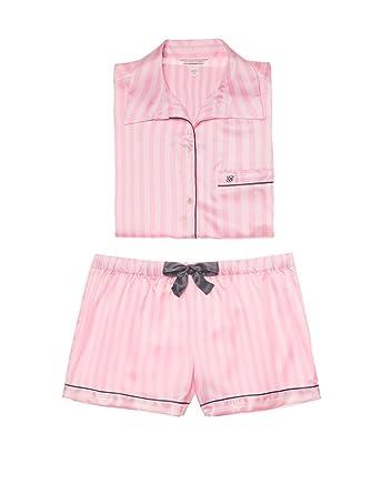 89493b7ab2b77 Victoria's Secret The Afterhours Satin Boxer Pajama Pink White ...