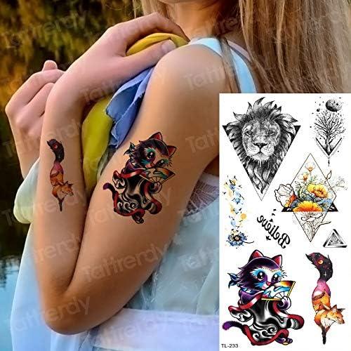 tzxdbh Tatuaje Temporal niños Pegatinas Mujeres Tatuaje Gato Zorro ...