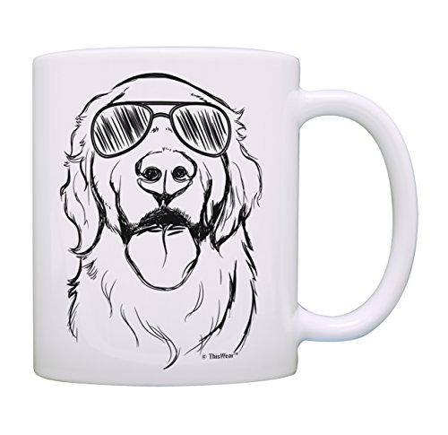 Dog Lovers Gifts Golden Retriever Wearing Sunglasses Golden Retriever Mug Coffee Mug Tea Cup White ()