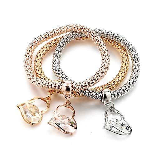 Vintage Designer Austrian Rhinestones Gold Color Tree of Life Charm Bracelets Popcorn Chain Jewelry For Women,SBR160349GD (Discount Draperies Online)