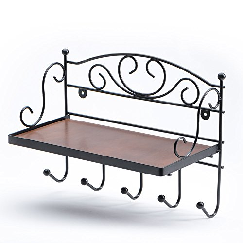 JustNile Decorative Antique Wall Mounted Solid Wooden Shelf with 5 Hanging Hooks; Classic Style Shelf and Rack; Easy to Install, for Mugs, Dog Leash, Keys, Coats, Scarfs; Rustic Iron Frame Design