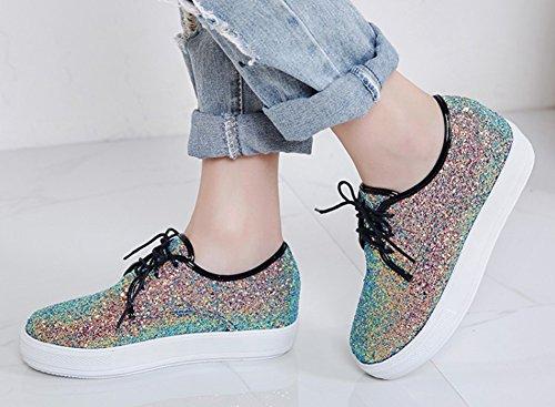 Aisun Womens Sparkly Pailletten Ronde Neus Dikke Zool Lace-up Flats Platform Sneakers Schoenen Zwart