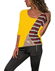 ❤ Mode Femme Casual Col Rond Couleur Patchwork Pullover Chic Manches Longues Slim T Shirt Tops Simple Blouse, Chemisier Femme Blouse Rayures Casual Tunique Haut Top Shirt feiXIANG