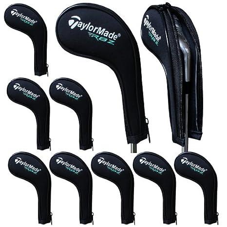 Taylormade RBZ número imprimir funda con cremallera de palo de golf hierrof con cuello largo 10pcs/set negro MT/TL01