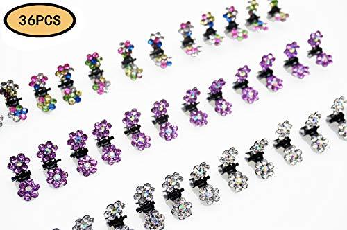 (ThEast Crystal Rhinestone Mini Flower Hair Claw Clip mini hairpin for girls (36PCS))