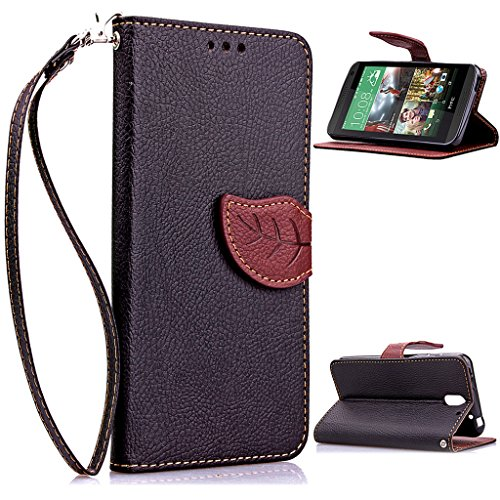 HTC 610 Case,Love Sound HTC Desire 610 Case [Kickstand Feature] Luxury Wallet PU Leather Folio Wallet Flip Case Cover Built-in Card Slots for HTC Desire 610,Luxury Colorful Cute leaf [Black]