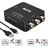 RCA to HDMI Converter, Runbod 1080P RCA Composite CVBS AV to HDMI Video Audio Converter Box for PS2 Wii Xbox VHS VCR Camera DVD Players, Support PAL/NTSC with USB Charge Cable