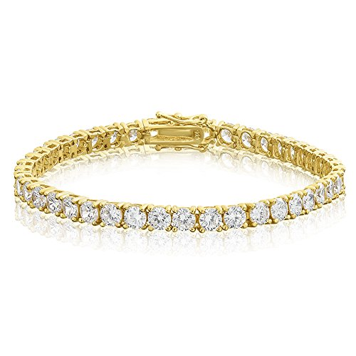 Yellow Gold Plated Sterling Silver Round Cut 4mm Cubic Zirconia Tennis Bracelet 8 (Yellow Gold Cubic Zirconia Bracelet)