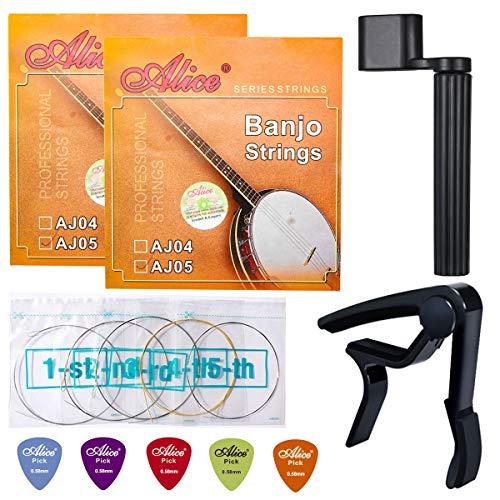 (Banjo Strings, Yoklili 2 Sets of 5-String Plated Steel Banjo Strings Set, Light, 09-20, Bonus 5 Matte Nylon Standard Picks, String Winder and Capo included)