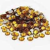 280 pcs Rhinestone Crystal Glass A Flatback Round Gems Embellishments HHDE0 Golden Yellow