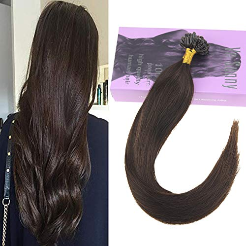 (VeSunny Karatin U Tip Darkest Brown Extensions Human Hair Silky Straight Pre Bonded Nail Tipped Real Human Hair 50g 1g/s)