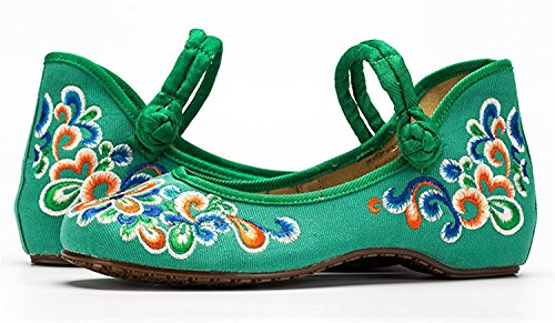 Shoes Strap Ladies Green Embroidery Casual Office Jane Mary Womens RUN Shoes L Flats Old Peking Work w1xq66