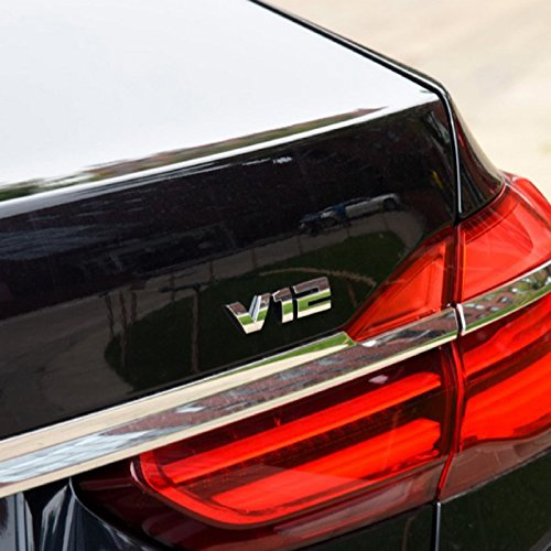 Dsycar 1Pcs 3D Metal V12 Car Side Fender Rear Trunk Emblem Badge Sticker Decals for Universal Cars Motorcycle Car Styling
