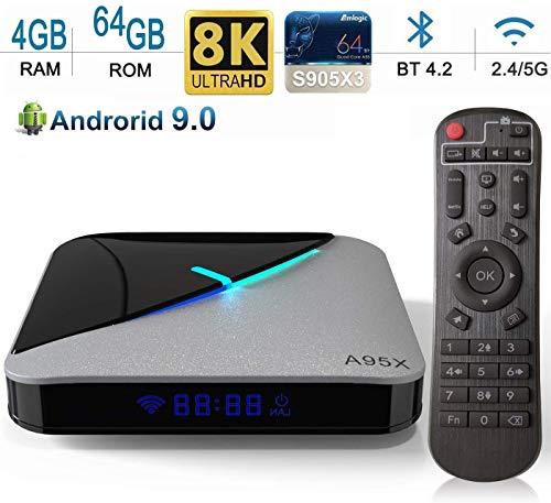 DOOK Android 9.0 TV Box 4GB RAM 64GB ROM, A95X F3 Air TV Box Android Amlogic S905X3 Quad-core Cortex-A55 Dual-WiFi 2…