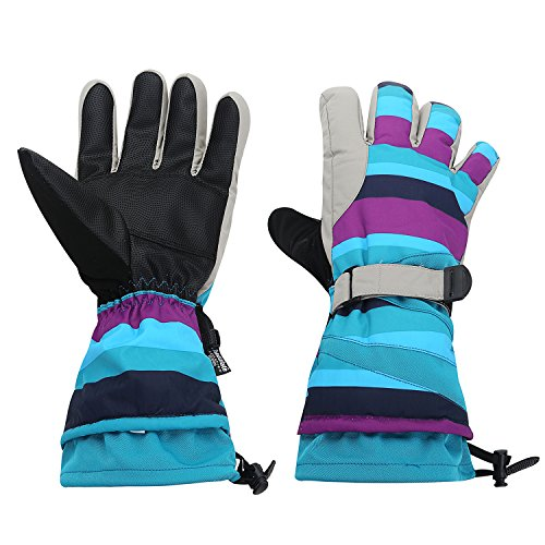 Topnaca Men and Women Outdoor Sports Snow Skiing Gloves, Winter Waterproof Thermal Breathable, for Skiing, Snowboarding, Motorcycling, Cycling (Blue&Purple) (Skiing Mitts Men)