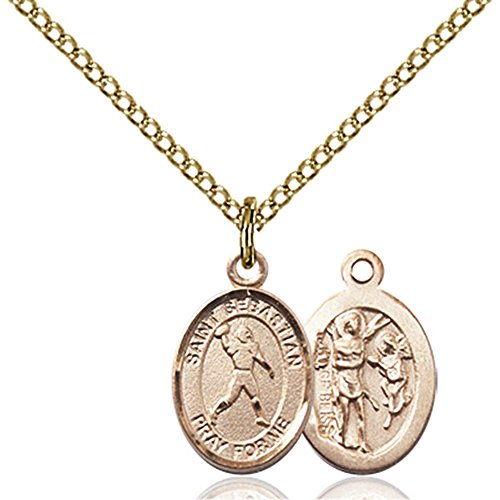 Bonyak Jewelry Gold Filled St. Sebastian/Football Pendant 1/2 x 1/4 inches with Gold-Filled Lite Curb Chain ()