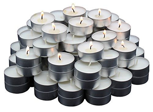 MontoPack Unscented Tealight Candles Bulk 125 Pack | Paraffin Pressed Wax, Smokeless, Dripless, Long Lasting Burning | for Home Decor, Table Centerpieces, Birthday Parties, Christmas and Pool ()