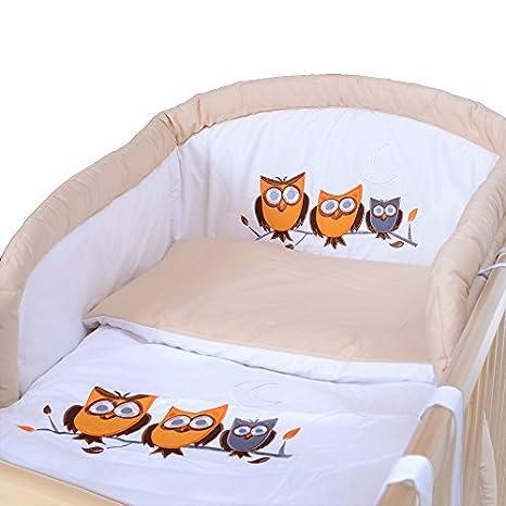 LCP Kids - 9 teiliges Baby Bettwäsche Komplettset mit Himmel, Nestchen - Baumwolle - geprüfte Textilien, Motiv gestickt: Bär creme