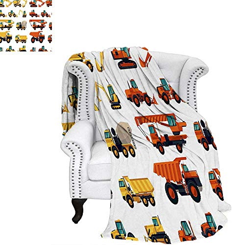 WilliamsDecor Construction Oversized Travel Throw Cover Blanket Set of Construction Machinery and Equipment Transportation Careers Mechanics Travel Throw Blanket 70