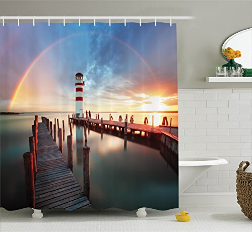 Ambesonne Lighthouse Decor Shower Curtain Set, Sunset At Seaside With Wooden Docks Lighthouse Clouds Rainbow Waterfront Reflection, Bathroom Accessories, 69W X 70L Inches, (Waterfront Art Set)