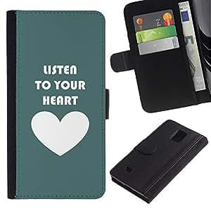 KingStore / Leather Etui en cuir / Samsung Galaxy Note 4 IV / Cita del amor de motivación Teal blanco