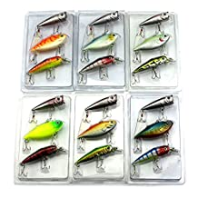 Baisidai Pack of 3 Fishing Lures Speed Cas Minnow Rattle Crankbait lure Fishing Lures Hook