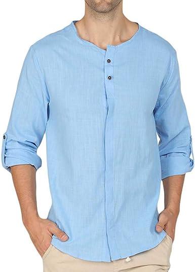 Camisas de Lino Henry inusuales Camisa de Yoga Camisa de Playa para Hombres, Camisas de Manga Larga de Carrete de Manga Larga Sueltas: Amazon.es: Ropa y accesorios